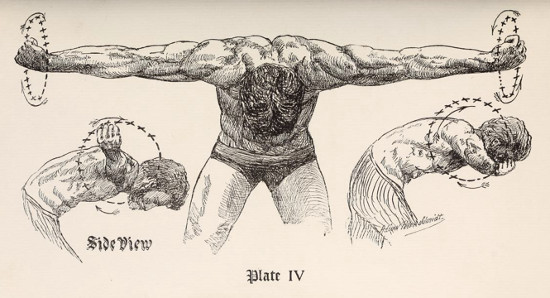 vintage strongman strength exercise illustration arm circles