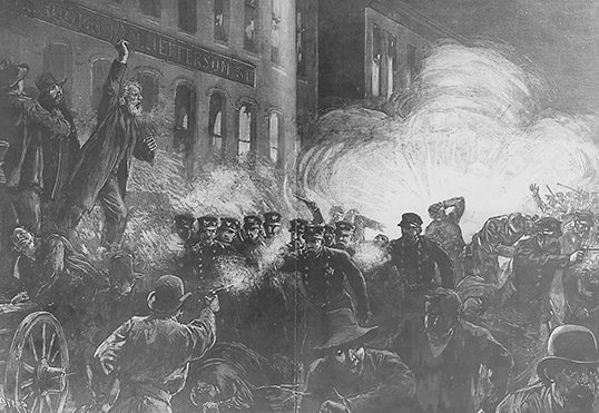 vintage illustration riot in city streets police fighting citizens