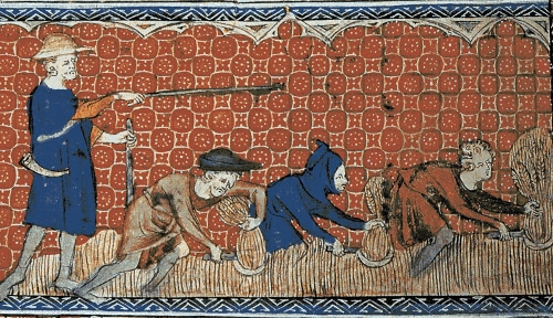 ancient tile artwork man whipping serfs in field