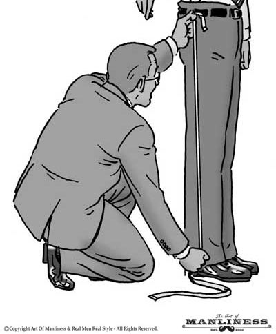 tailor taking leg measurements of man illustration