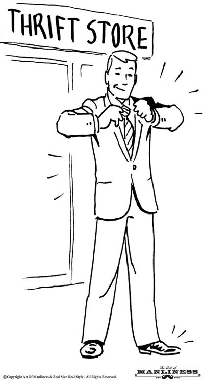 Man coming out of thrift store with new suit illustration.