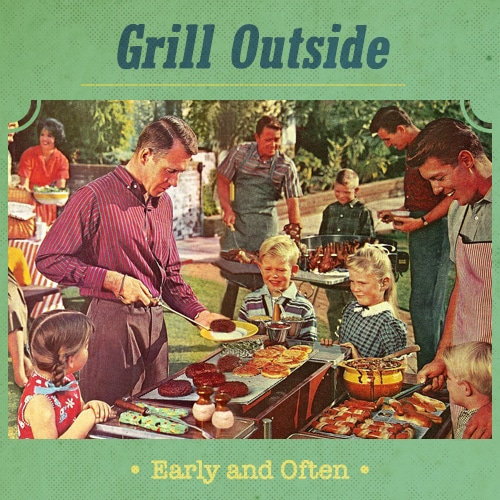 vintage summer party grilling meat kids men in aprons