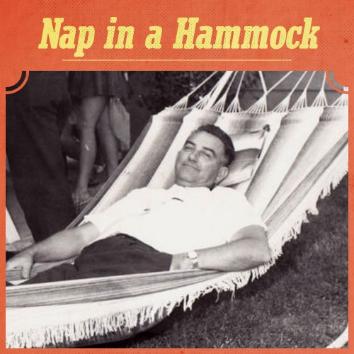 vintage man lying in hammock