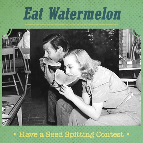 vintage man woman boyfriend girlfriend eating large watermelon slice