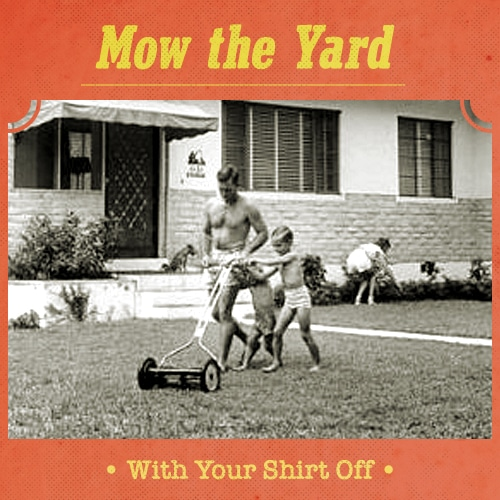 vintage father and son mowing lawn with reel mower shirts off