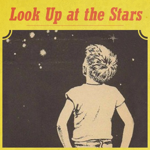 vintage illustration boy looking up at stars at nighttime