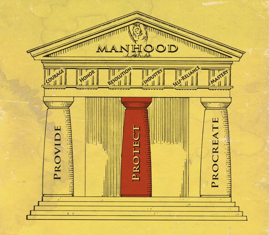 Pillars of manhood illustration protect.