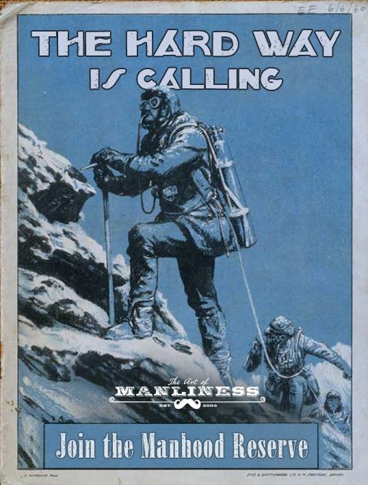 hard way is calling vintage illustration man climbing mountain