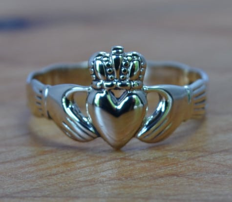 gold claddagh engagement ring diamond alternative