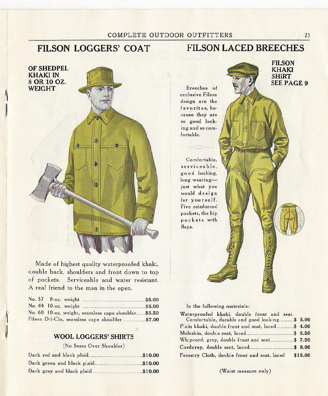 vintage filson ad advertisement loggers coat laced breeches