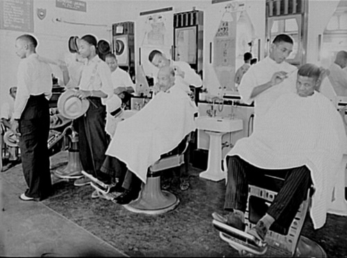vintage african american black barbershop men getting haircut