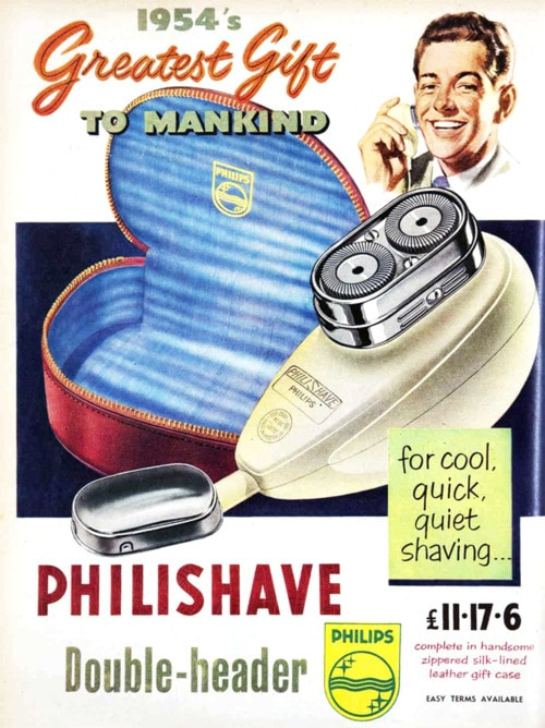 vintage phillips philishave electric razor shaver ad advertisement