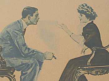 Vintage man making smoke ring for the lady, both sitting on chairs.