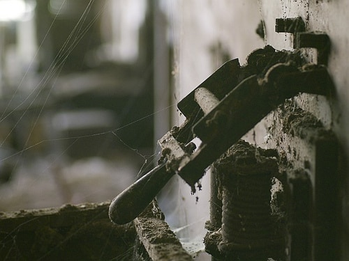 vintage electrical switch cobwebs dusty