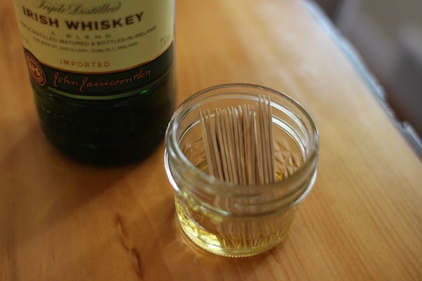 diy flavored toothpicks soaked in jameson whiskey