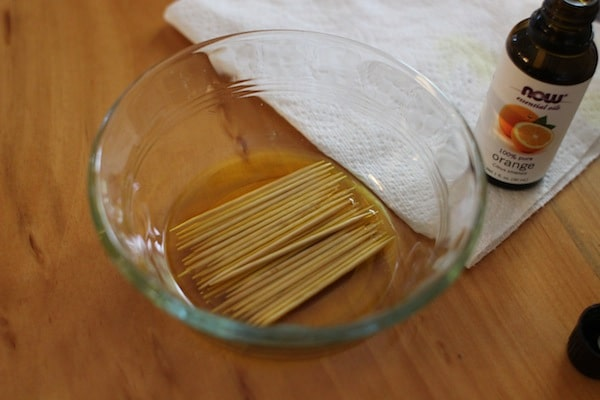diy flavored toothpicks soaking in glass dish