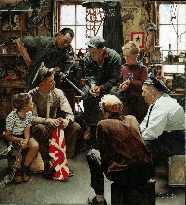 normal rockwell painting men and boys in workshop teaching lessons