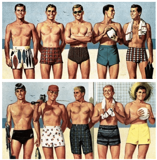 men's swimwear in the middle of the 1900s.