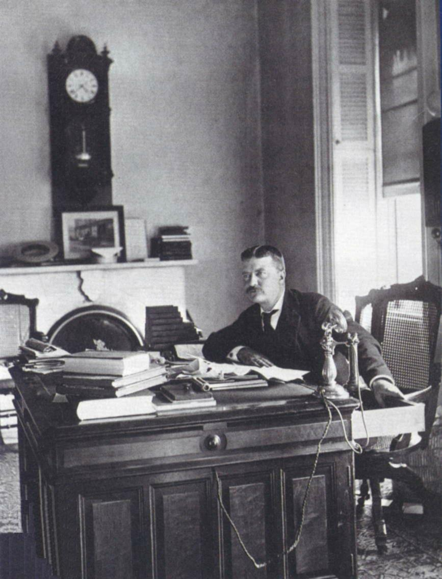 teddy theodore roosevelt at desk working piled high with books papers