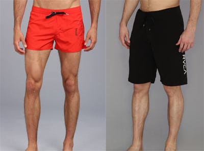modern swim trunks of different colors and inseams
