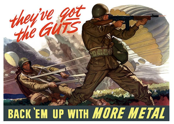 vintage army recruitment poster they've got guts back 'em up