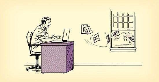illustration man at desk time is flying