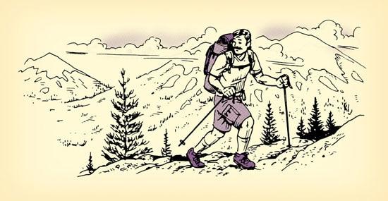 man hiking climbing up mountain illustration
