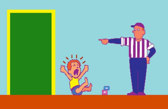 old school video game illustration dad sending child to room