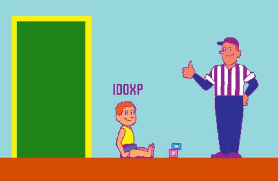 old school video game illustration dad giving son reward