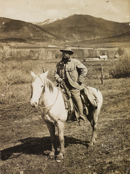 teddy theodore roosevelt on horseback in mountains