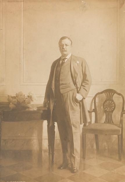 teddy theodore roosevelt standing portrait 3 piece suit eyeglasses