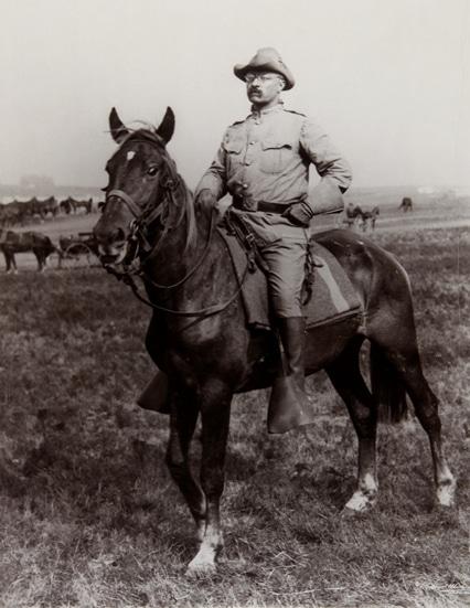 teddy theodore roosevelt in uniform on horseback