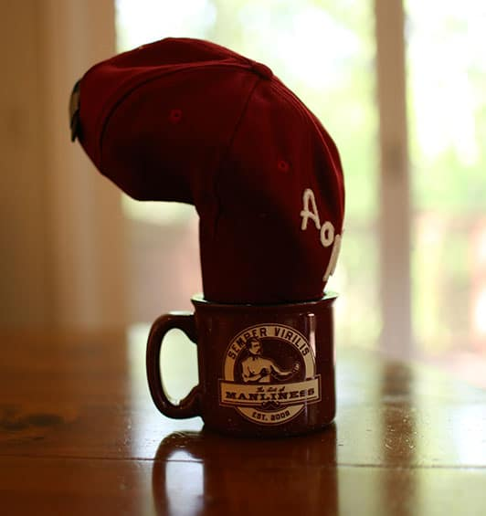 break in curve baseball cap hat in coffee mug