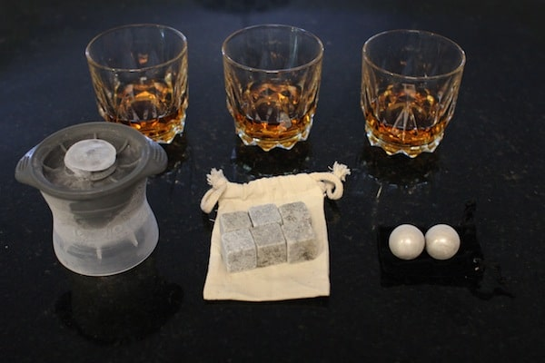 The ice ball, whiskey stones, and stainless whiskey balls.