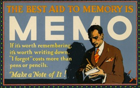vintage business poster best aid to memory is memo