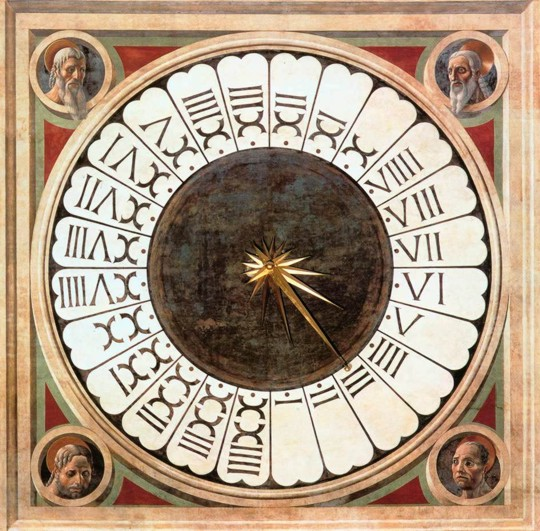 roman numerals on ancient clock illustration