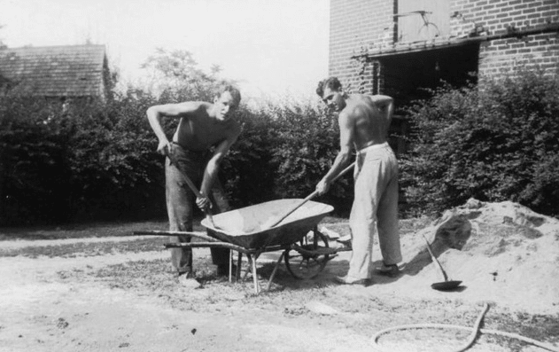 Vintage men doing yard work manual labor shovels in wheelbarrow.