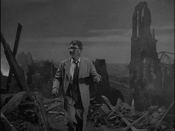 Henry Bemis walking through an old place.