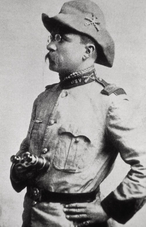 teddy theodore roosevelt in battle uniform glasses side profile