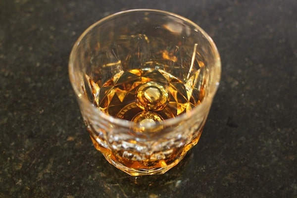 whiskey balls in glass of whiskey