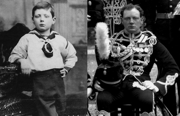 Winston Churchill as frail young boy strong regal young man.