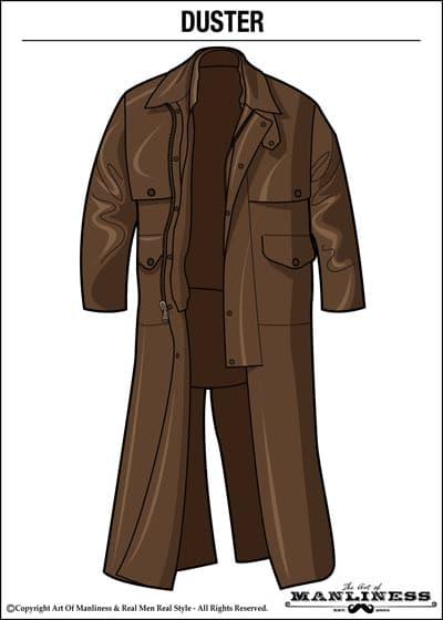 leather duster jacket overcoat illustration