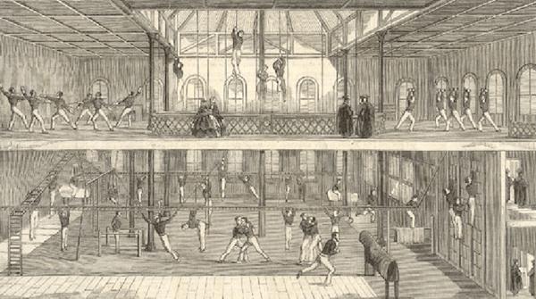 mid 1800s University of Oxford gym gymnasium.