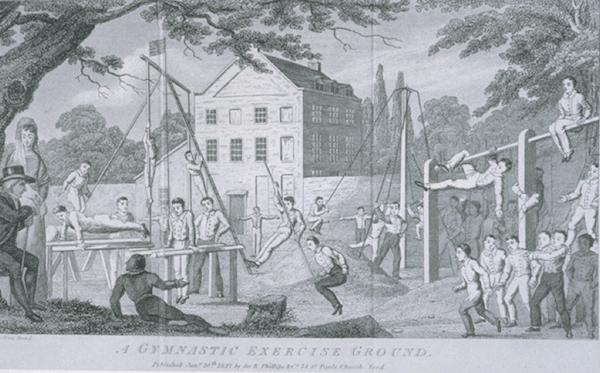 1800s outdoor gym gymnasium men climbing swinging