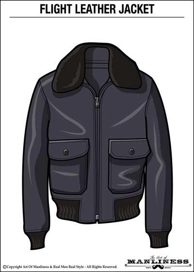 leather flight bomber jacket illustration large fur collar
