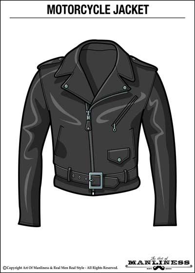 leather motorcycle double rider jacket illustration