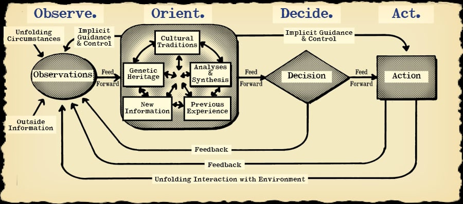 Different processes described in ooda loop.