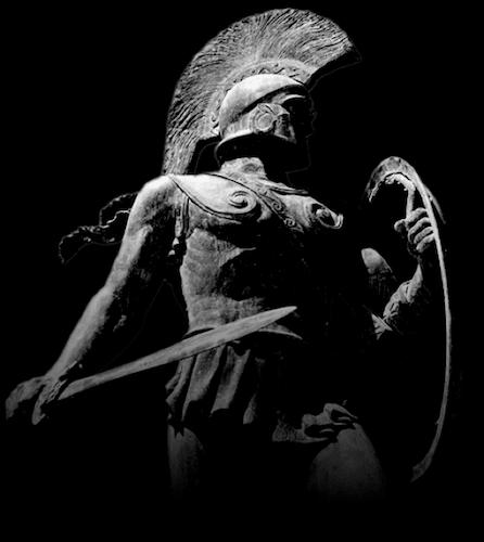 statue ancient greek warrior with spear shield battle helmet