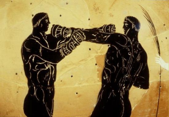 ancient greek artwork men boxing training