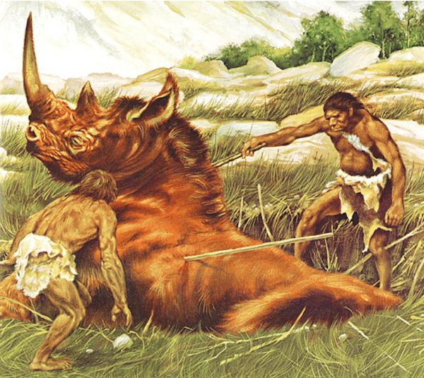Cavemen hunting giant rhino illustration.